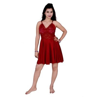 Kismat Fashion Maroon Short Nighty
