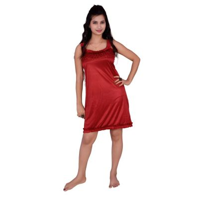 Kismat Fashion Maroon Short Nighty