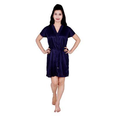 Kismat Fashion Navy Blue Short Robe
