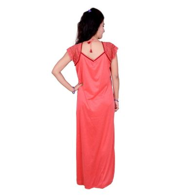 Kismat Fashion Peach Cotton Long Nighty