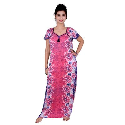 Kismat Cotton Long Nighty Pink With Flower Print