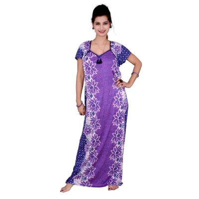 Kismat Cotton Long Nighty Purple With Flower Print