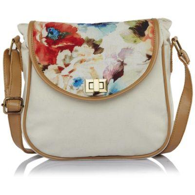 Haqeeba Women White Canvas Sling Bag