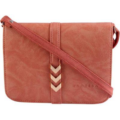Haqeeba Women Pink Leatherette Sling Bag