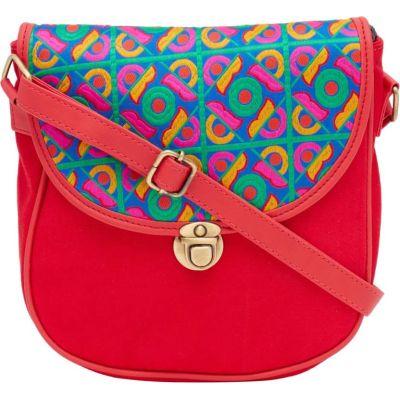 HAQEEBA Women Red Canvas Sling Bag