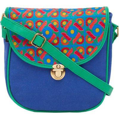 HAQEEBA Women Blue Canvas Sling Bag