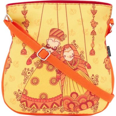 HAQEEBA Women Yellow Canvas Sling Bag