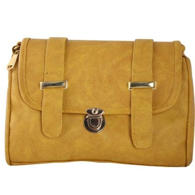 Haqeeba Women Yellow Leatherette Sling Bag