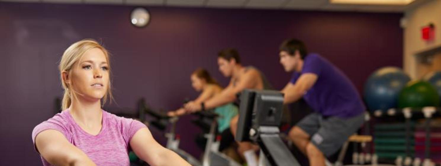 Girl using a rowing machine
