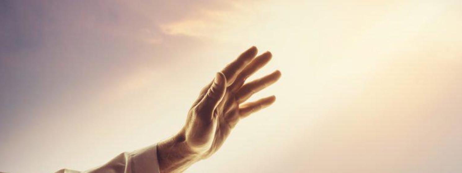 Jesus hand in the light