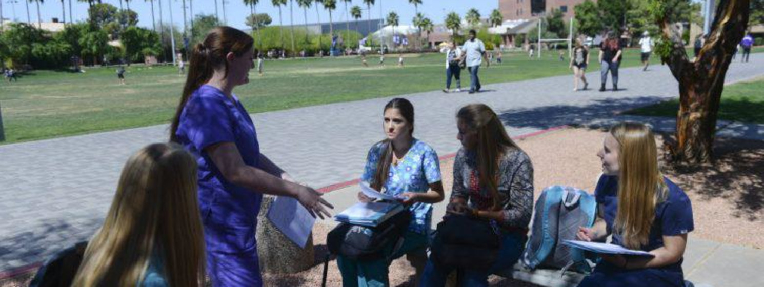 Future health care administrators club meets outside near nursing college