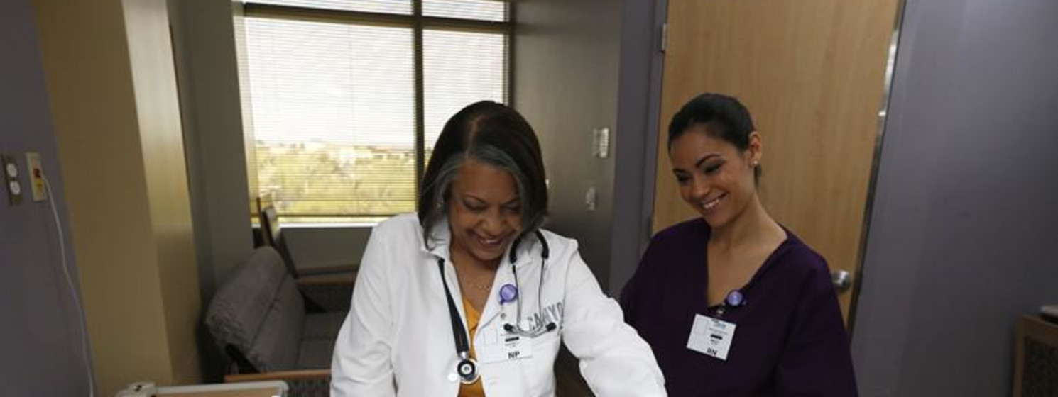a health care provider taking care of a patient