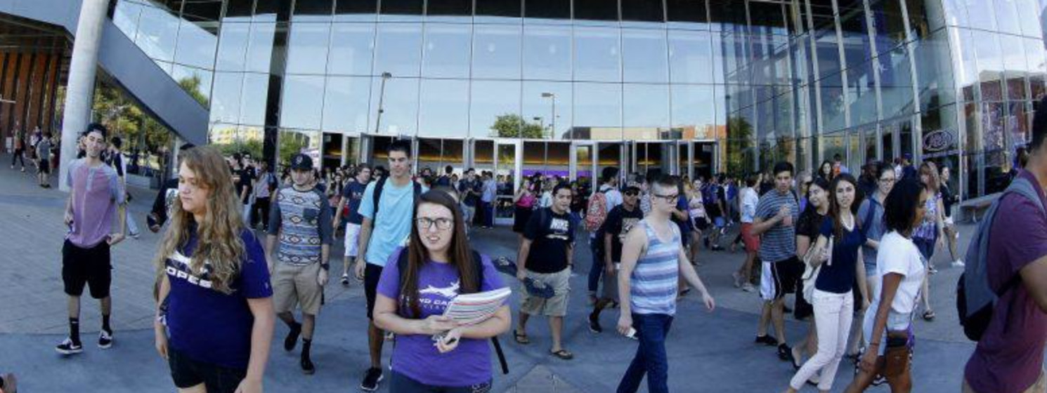 students outside the GCU Arena