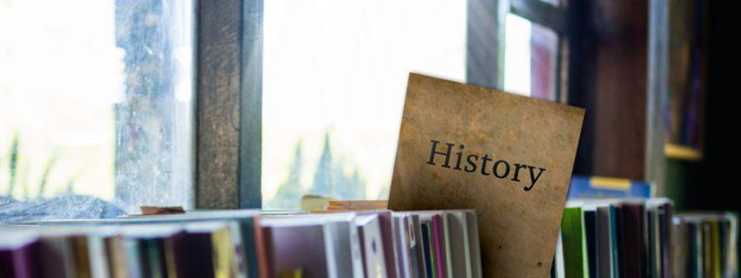 history books in a library