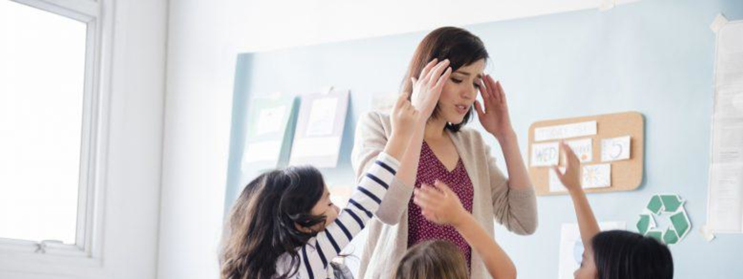Teacher becoming overwhelmed by students