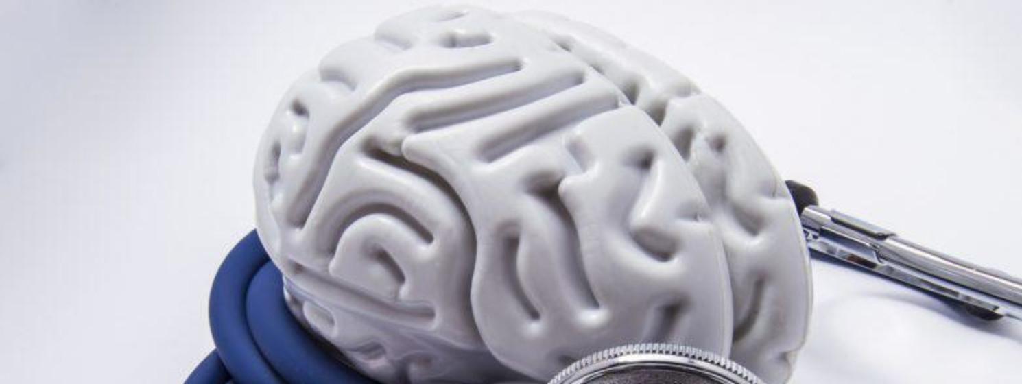 Stethoscope surrounds fake white brain