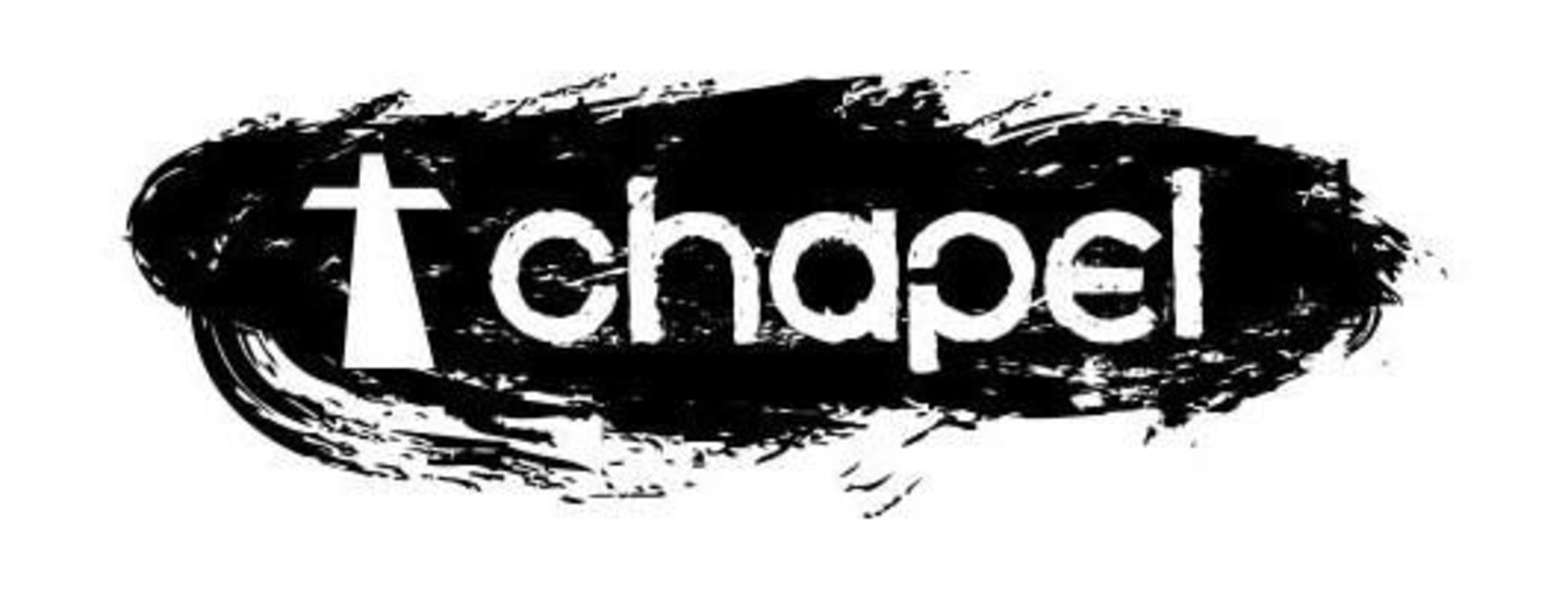 Logo concept of white cross to left of white chapel text on black background