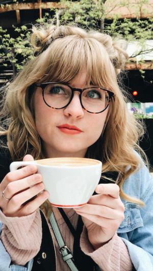 Jessalyn drinking coffee
