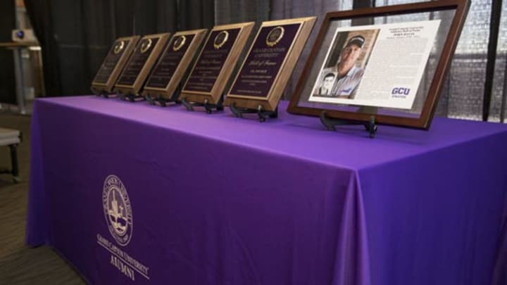 Awards lined up on table for Hall of Fame inductees