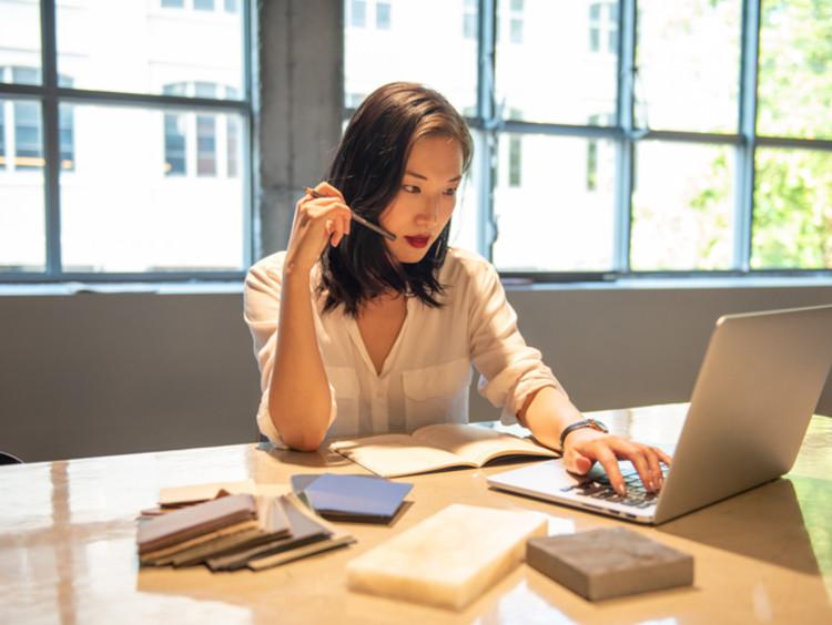 college student completing online classwork