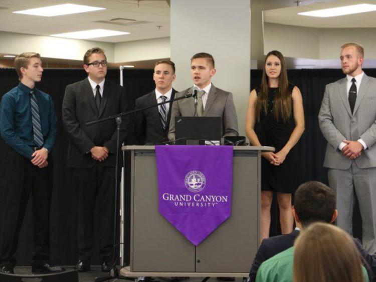 GCU students giving presentation