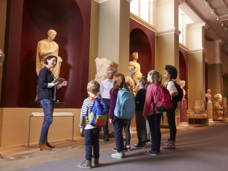 group of kids in a museum