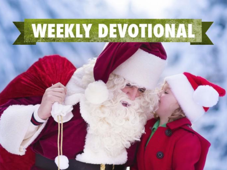 Santa and a child under the Weekly Devotional banner