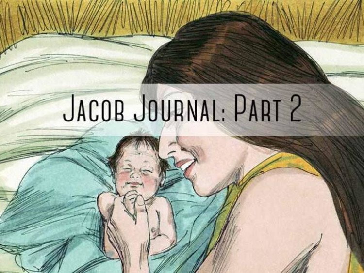"woman holding baby with ""jacob journal part 2"" written on it"
