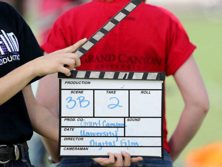Clapperboard on set