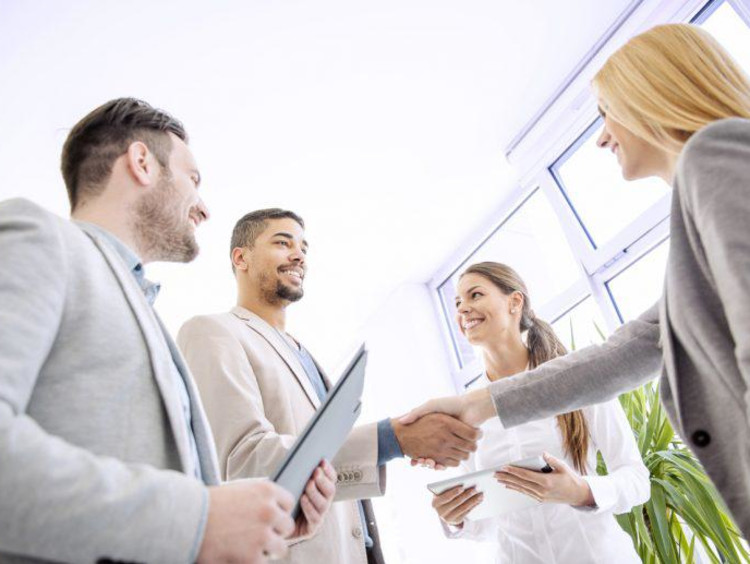Business leaders greet each other before a meeting