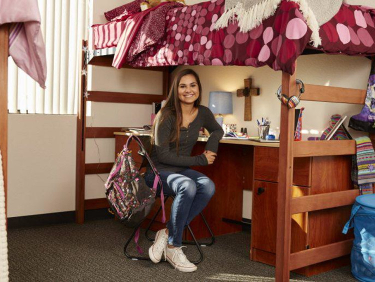 girl in a dorm room