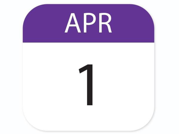 Calendar icon of April first