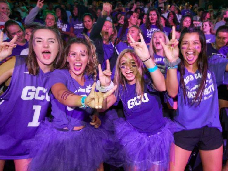 GCU students cheering
