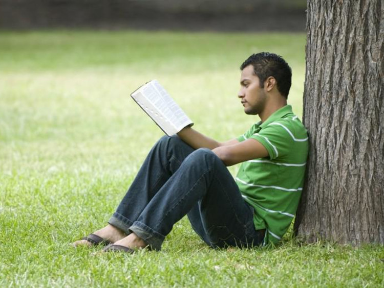 A man reading at the base of a tree.