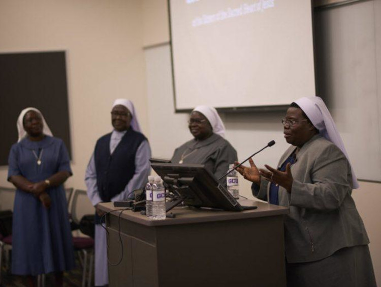 Sister Rosemary Nyirumbe speaking