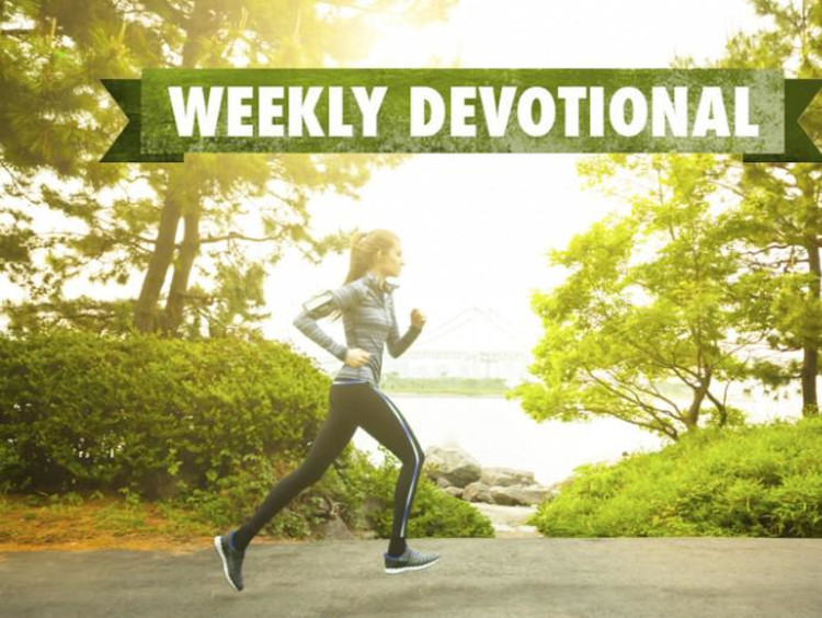 Weekly devotional text atop image of woman jogging on park trail