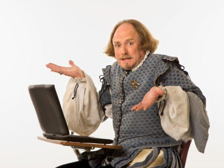 Confused Shakespeare at computer meme