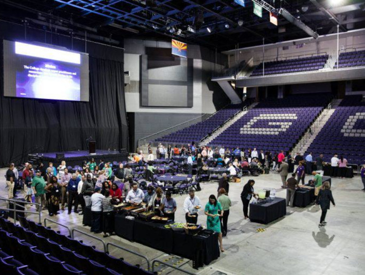 Doctoral residency group has lunch inside GCU arena