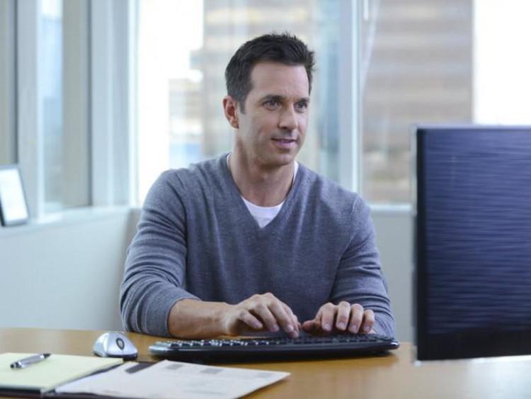 man taking a class online
