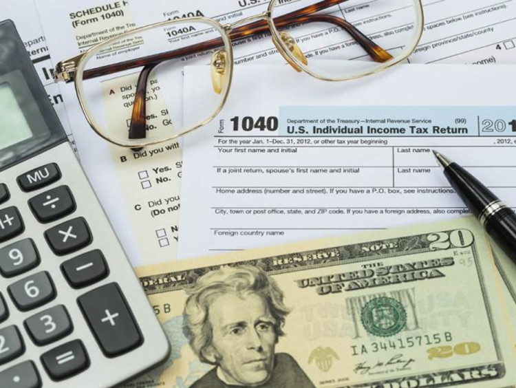 taxes documents and money