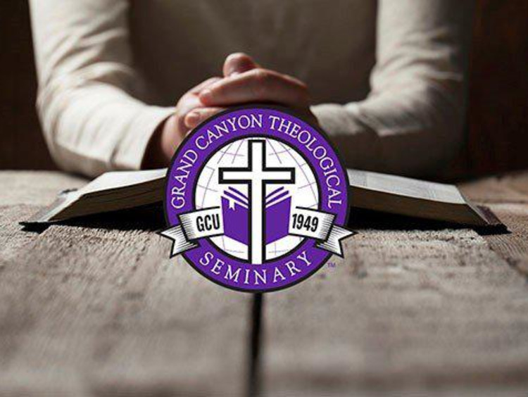 folded hands with gcu theology logo