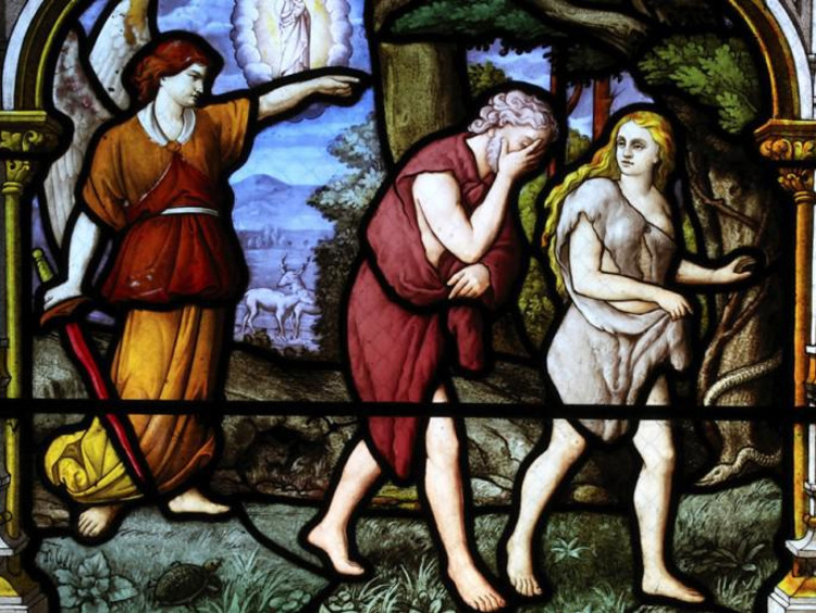A stained glass image of Adam and Eve