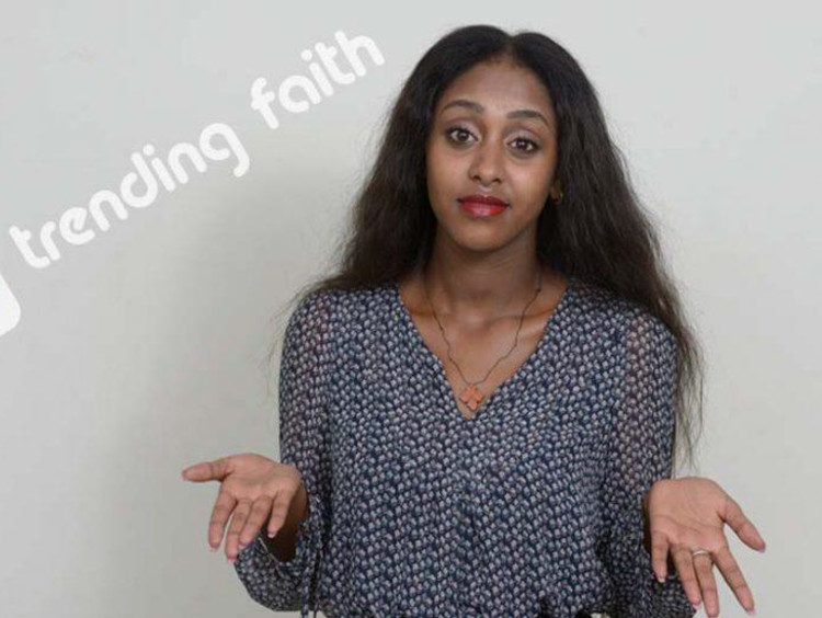 Confused student next to the trending faith logo