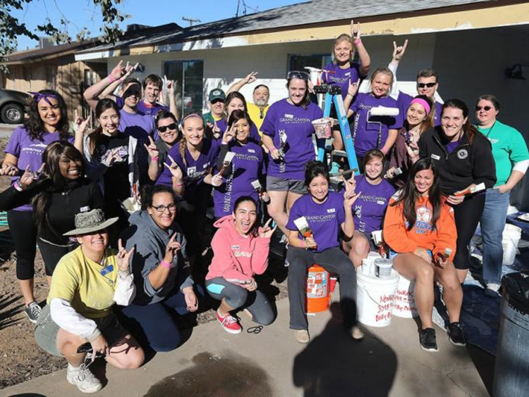 group of students helping the community