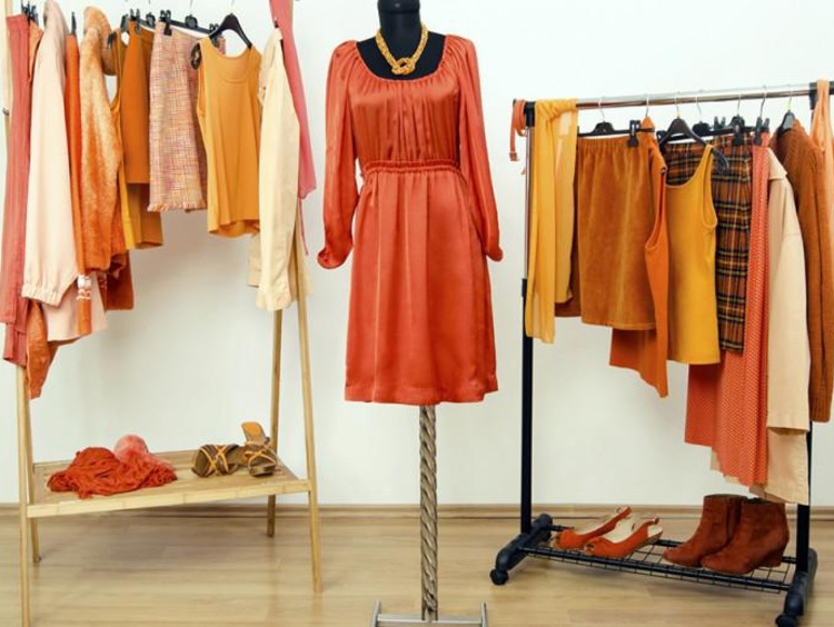 a bunch of orange clothing