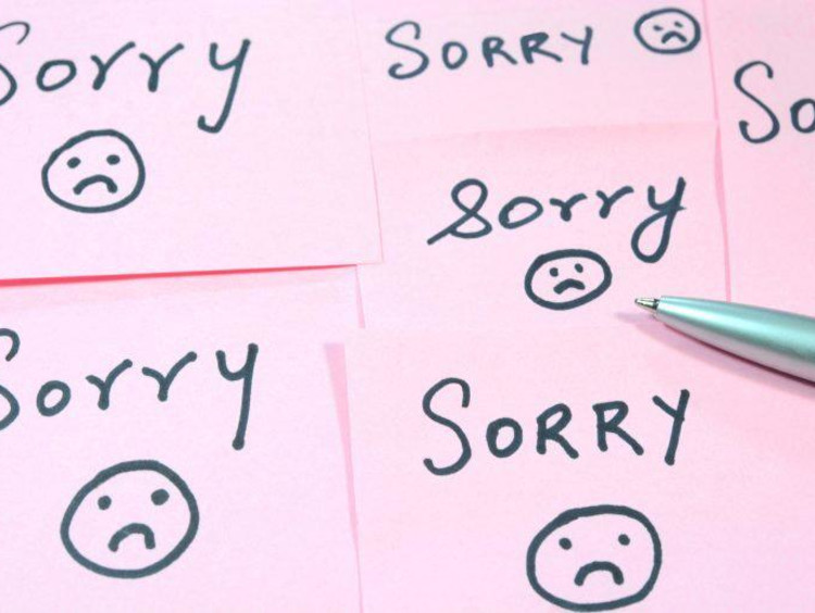 "Arranged sticky notes reading ""sorry"""