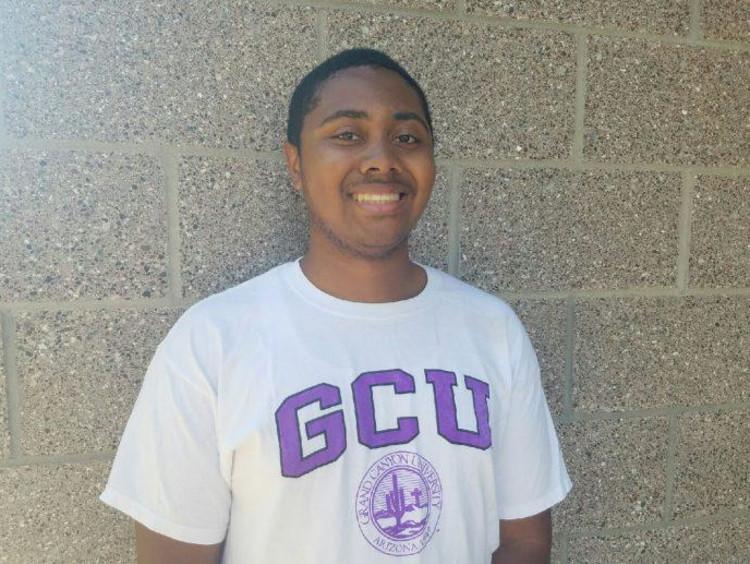 Myles Williams in a GCU shirt