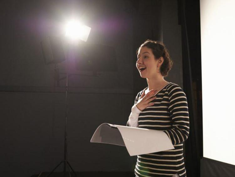 Female rehearsing lines