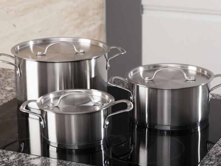 steel pots on a boiler