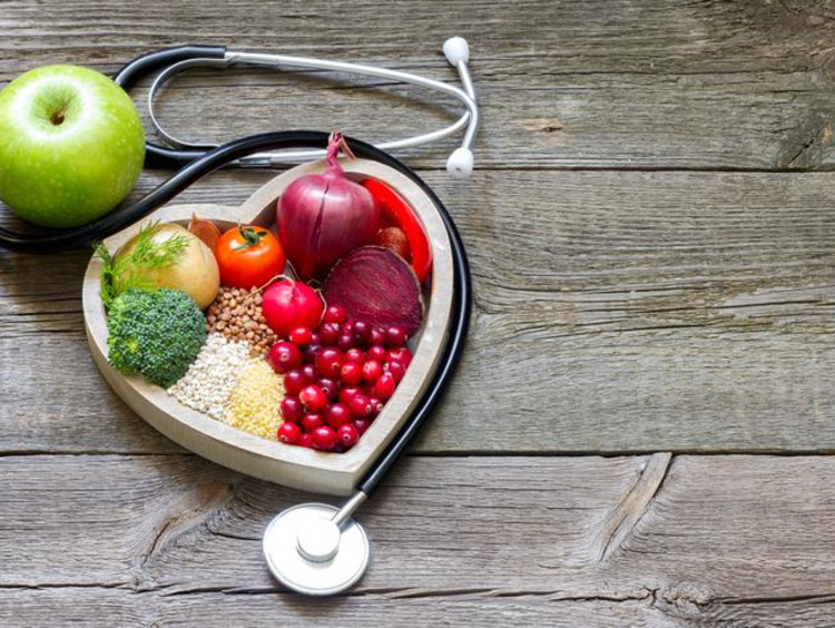 healthy food in a heart-shaped plate